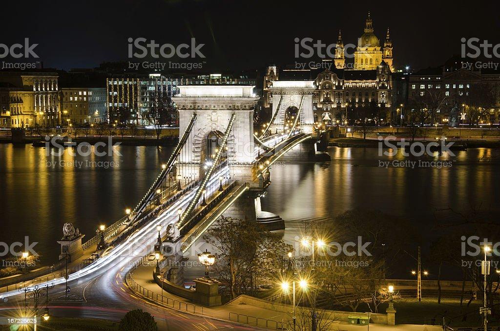 View of the Budapest Chain Bridge at Night. stock photo