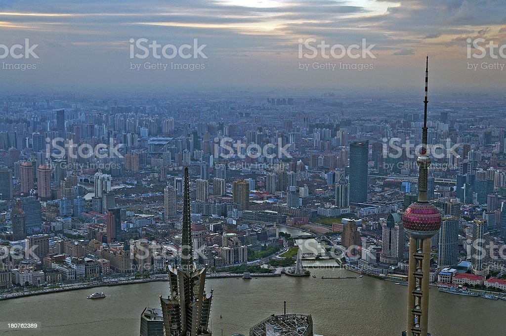 View of The Bund and Oriental Pearl Tower Shanghai royalty-free stock photo