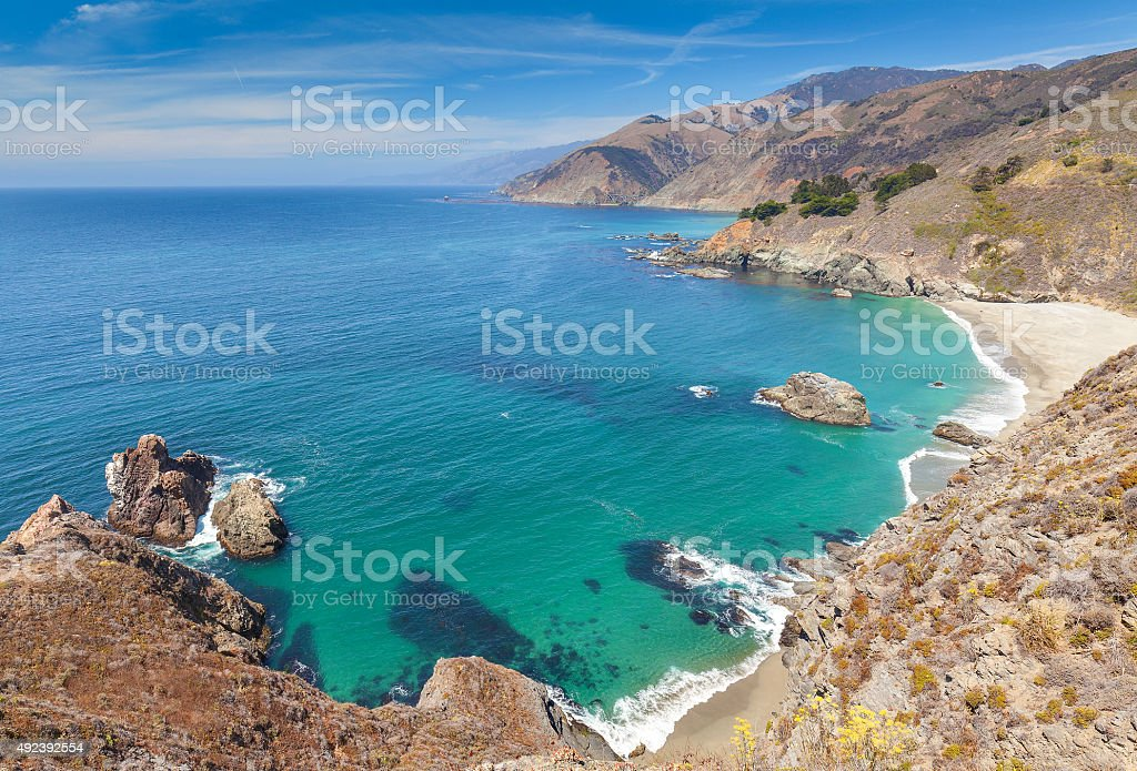 View of the California coastline along Pacific Coast Highway. stock photo