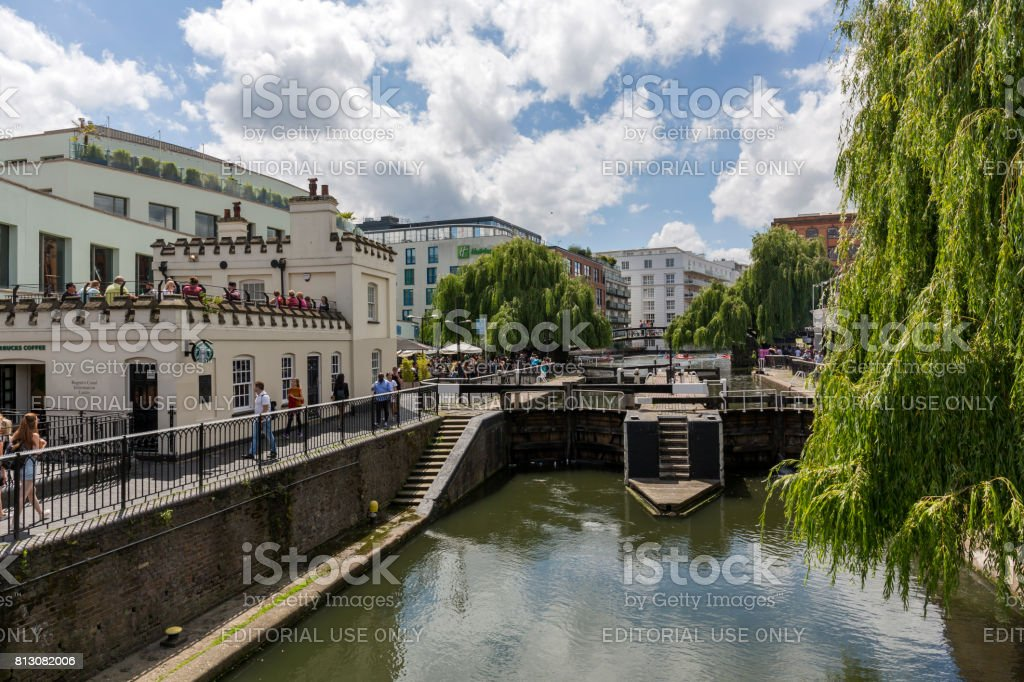View of the Camden Lock in Camden Town London stock photo