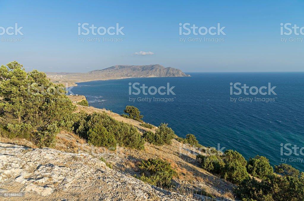 View of the Cape Meganom. Crimea, September. stock photo