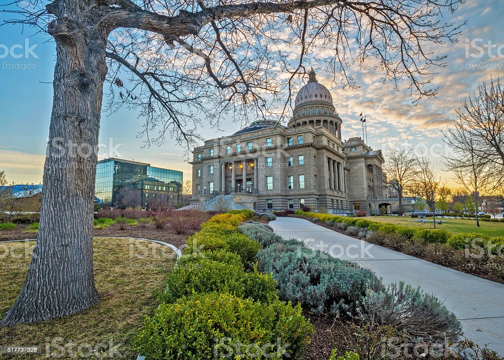 View of the Capital building of Idaho with clouds stock photo