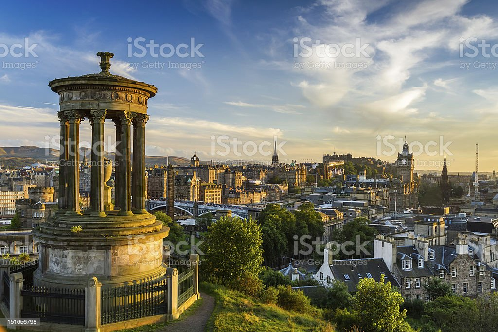 View of the castle from Calton Hill at sunset stock photo