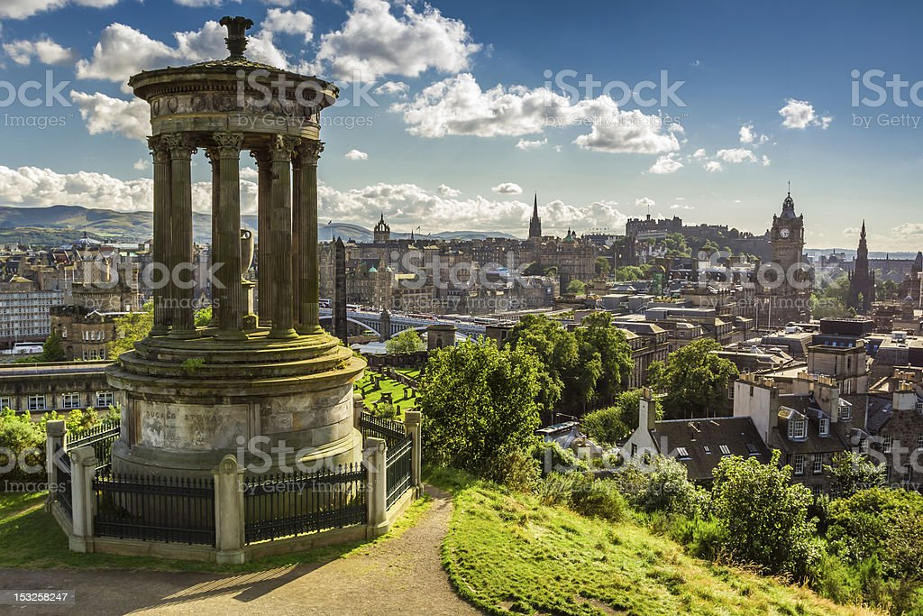 View of the castle from Calton Hill in sunny day stock photo
