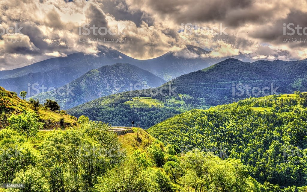 View of the Catalan Pyrenees, a natural park in France stock photo