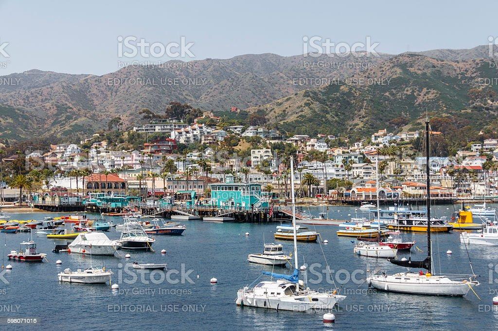 View of the Catalina Island Harbor, Southern California stock photo