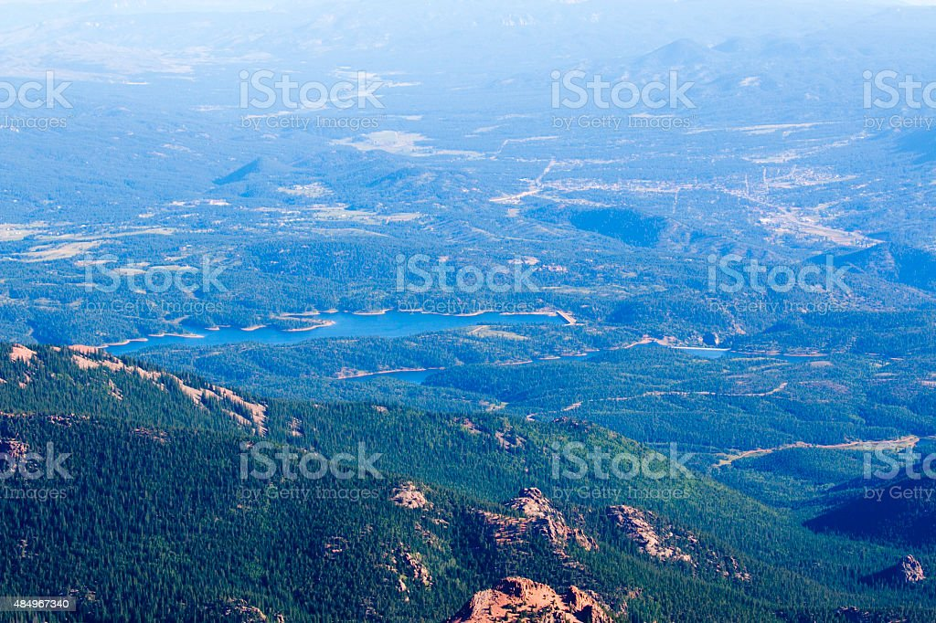 View of the Catamounts from Pikes Peak Highway stock photo