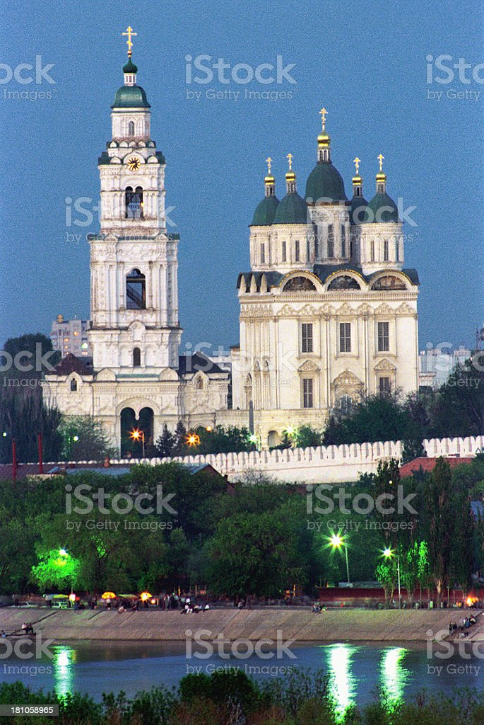 View of the Cathedral and belfry. stock photo