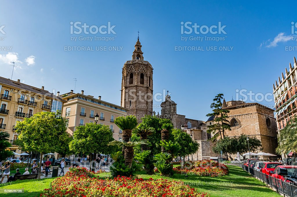 View of the cathedral in Valencia (Saint Mary's Cathedral) stock photo
