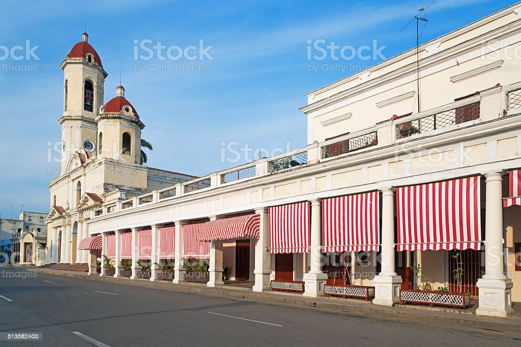 view of the Cathedral of Cienfuegos, Cuba stock photo