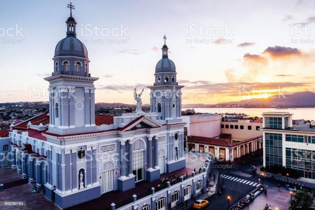 View of the cathedral of Nuestra Senora de la Asuncion, Santiago de Cuba, Cuba stock photo