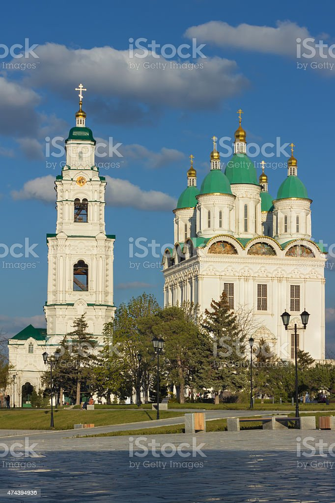 View of the Cathedral of the assumption and of bell-tower stock photo