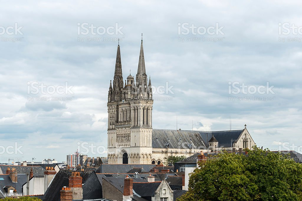 View of the cathedral Saint Maurice, Angers (France) stock photo