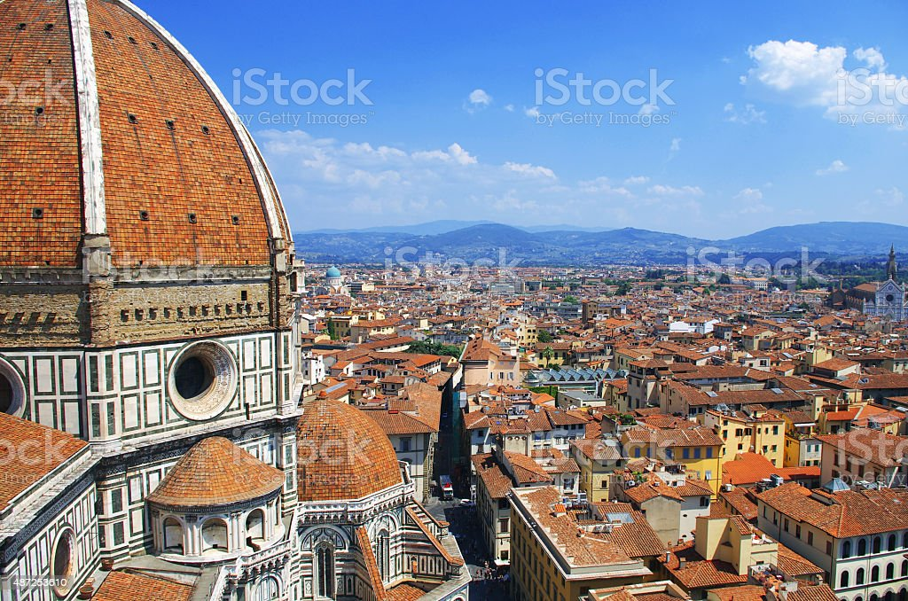 View of the Cathedral Santa Maria del Fiore in Florence stock photo