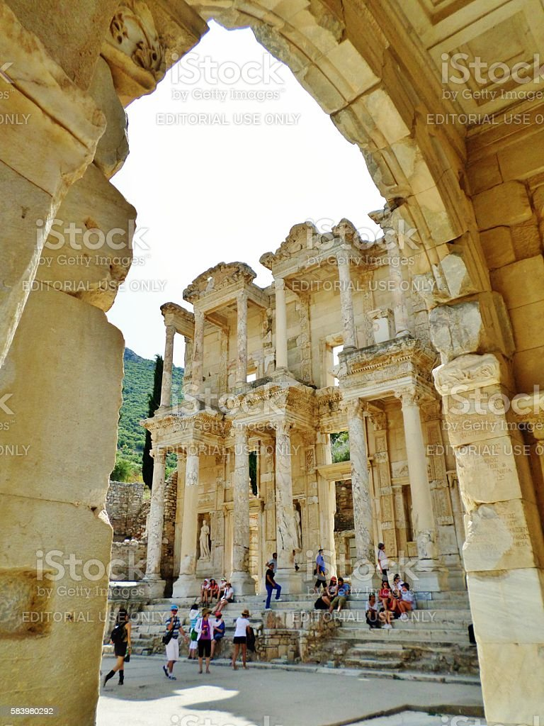 View of the Celsus Library through the Gate stock photo