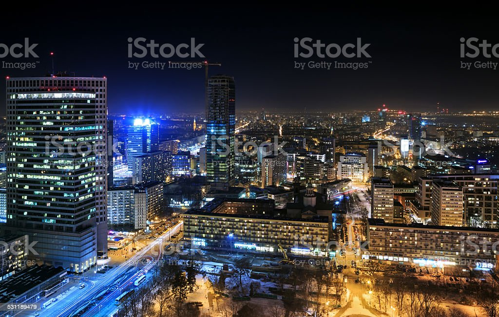 View of the center of Warsaw at night stock photo