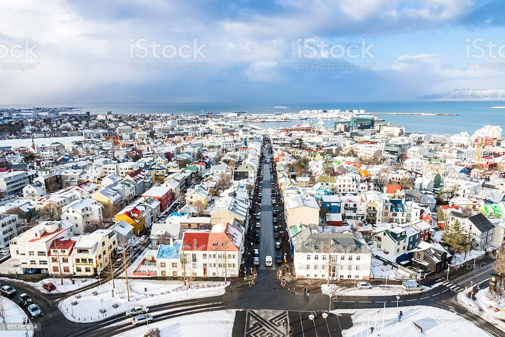 View of the central Reykjavik city in winter. stock photo