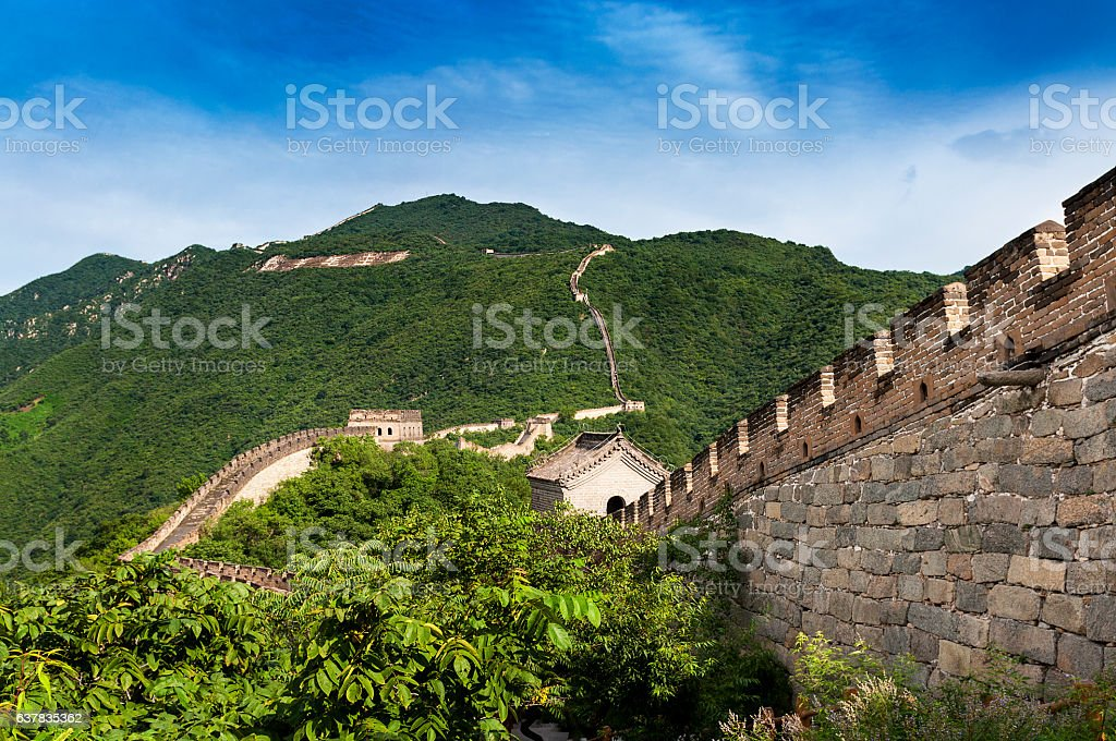 View of the China Great Wall in Mutianyu, China stock photo