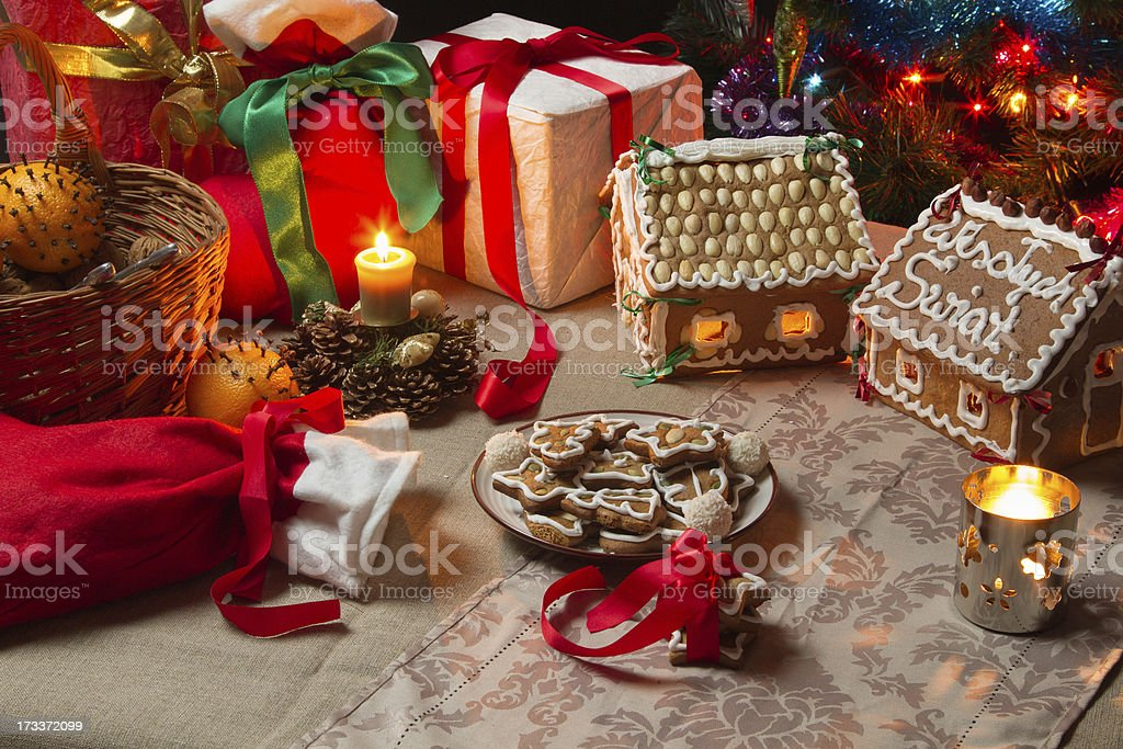 View of the Christmas table with presents stock photo