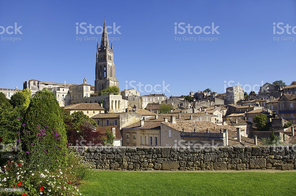 View of the church and surrounding houses in Saint-Emillion stock photo