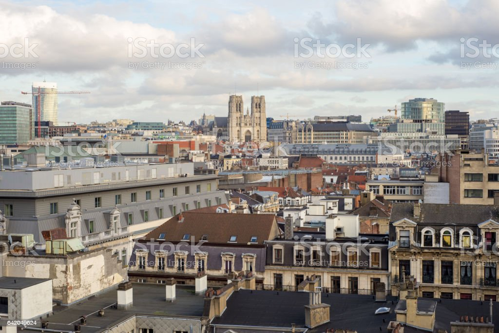 view of the city and cathedrale stock photo