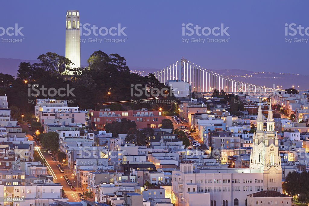 View of the city and of Coit Tower in San Francisco stock photo