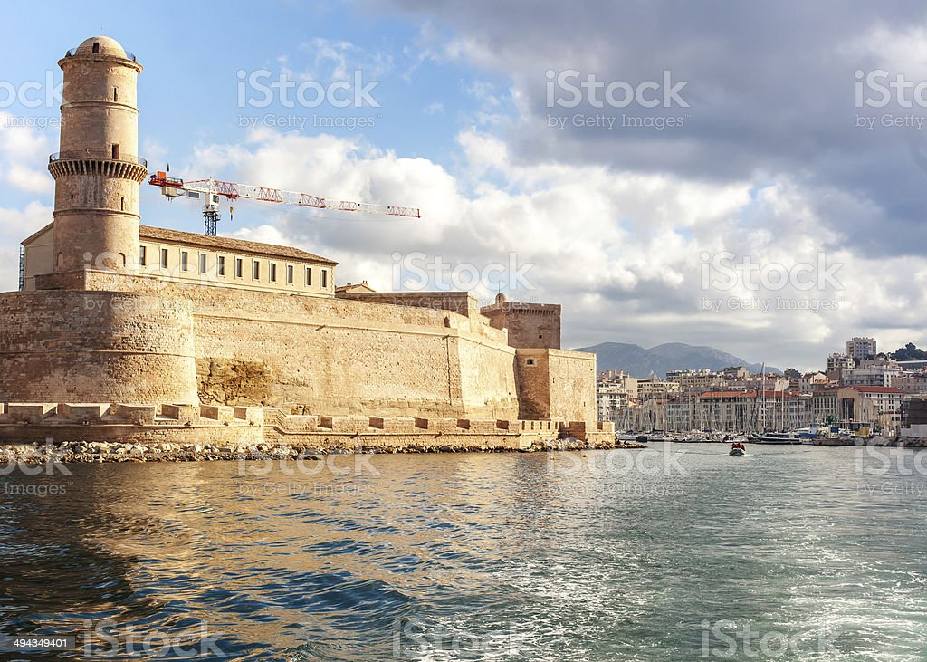 view of the city from sea stock photo