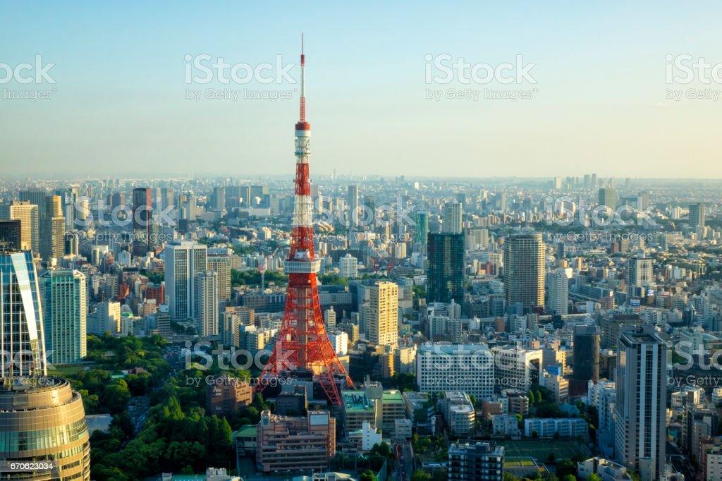 View of the city in the afternoon in Tokyo,Tokyo Tower stock photo