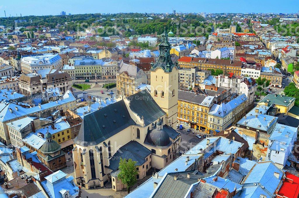 View of the city Lviv birds eye view stock photo
