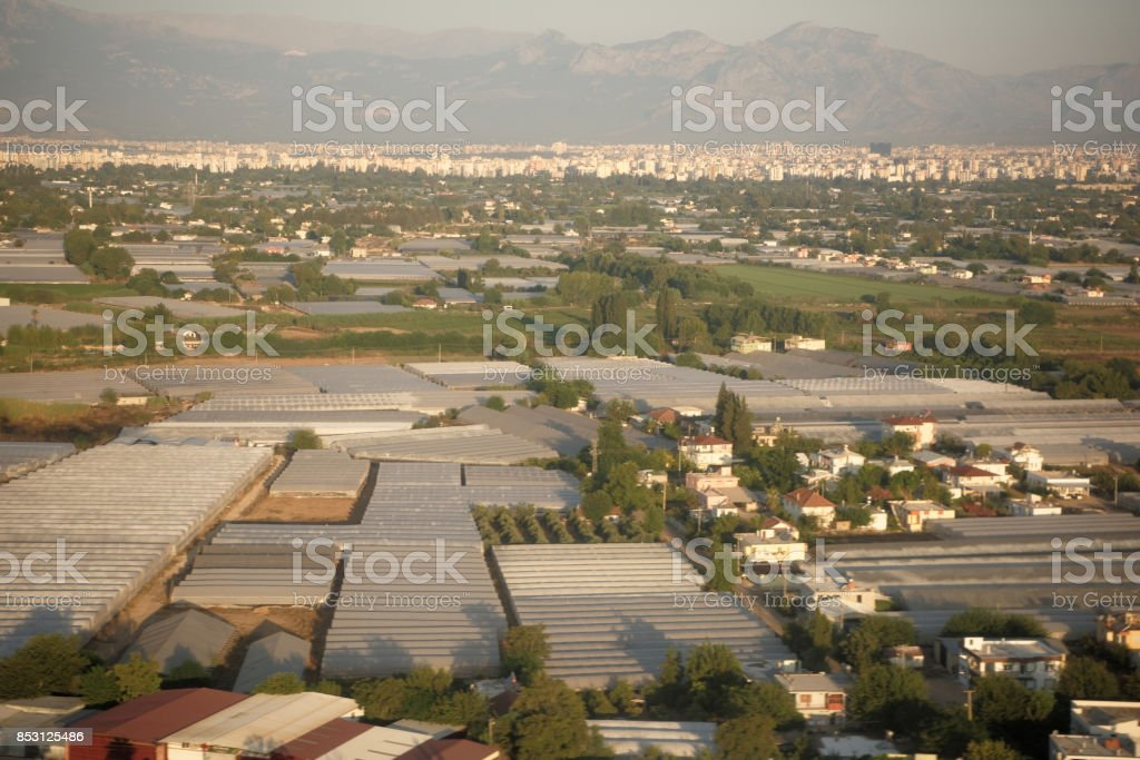 View of the city of Antalya, Turkey, from the aircraft. September, 2017 stock photo