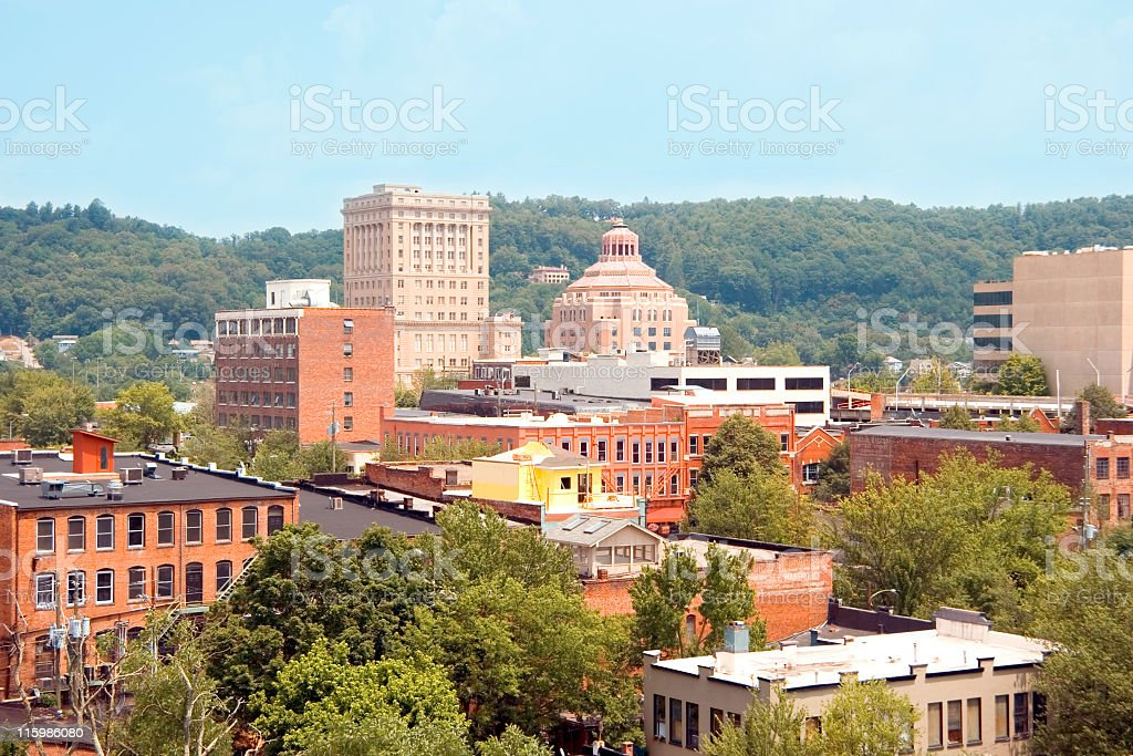 A view of the city of Asheville in North Carolina stock photo