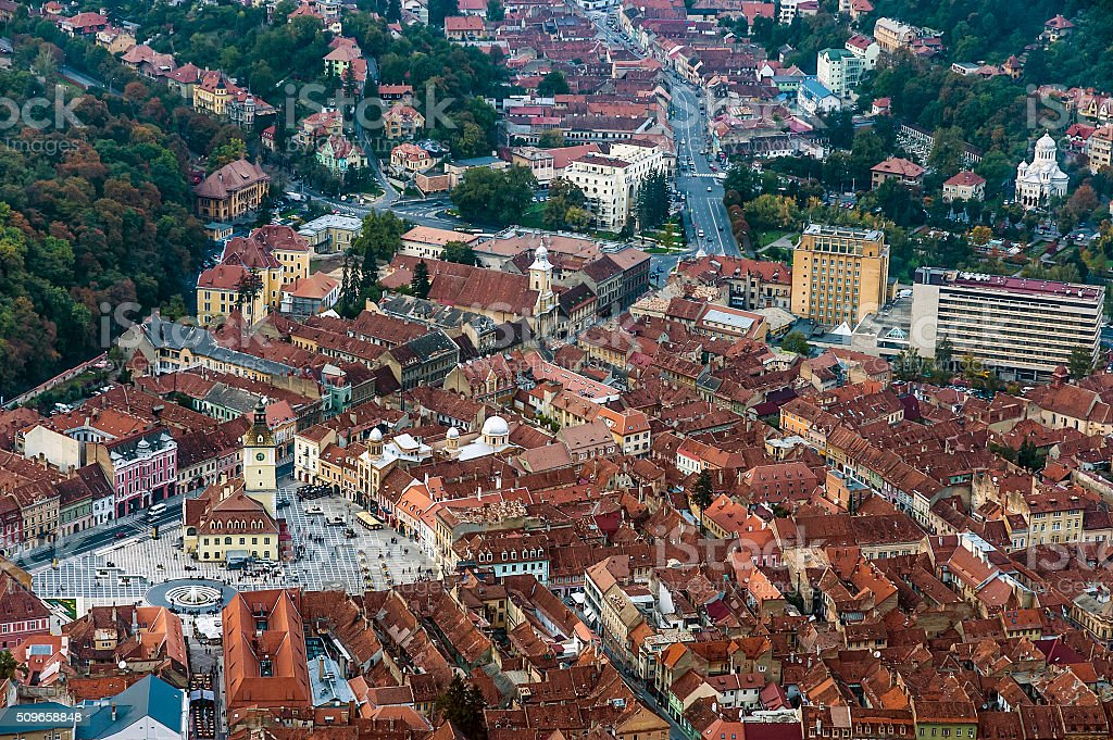 View of the city of Brasov in Romania stock photo