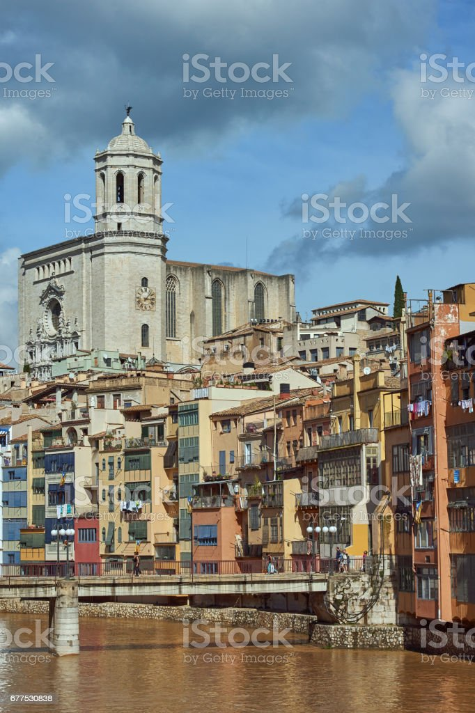 View of the city of Girona and Cathedral of Girona, Catalonia, Spain stock photo