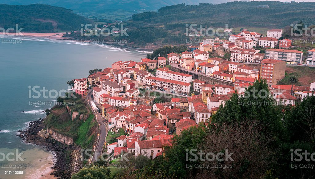View of the city of Lastres, Asturias.Spain stock photo