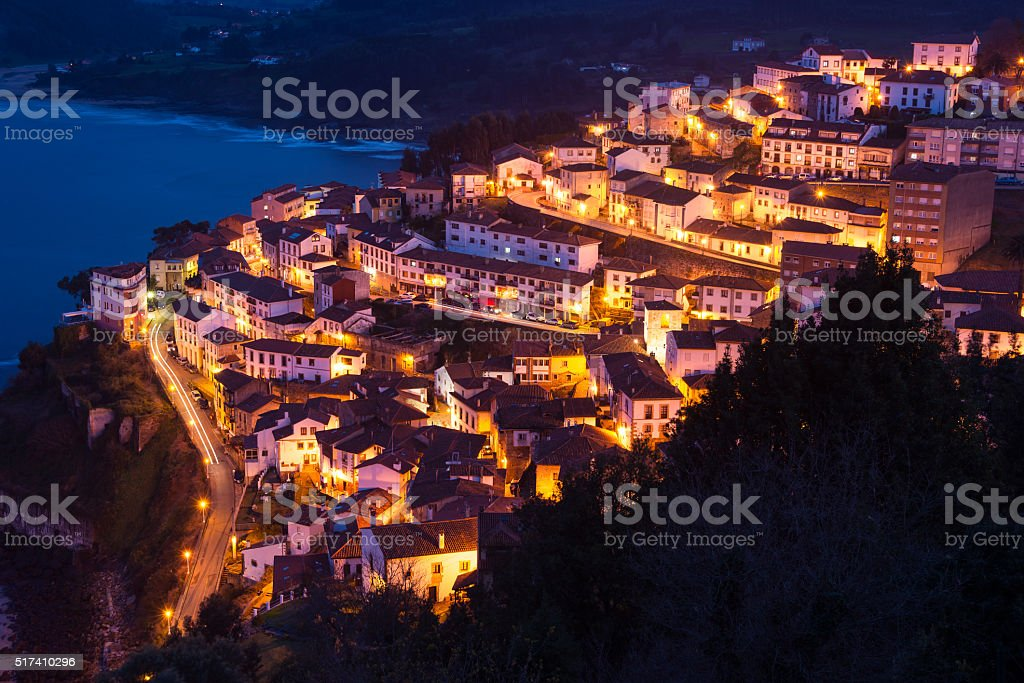 View of the city of Lastres at nightfall,II,Asturias.Spain stock photo
