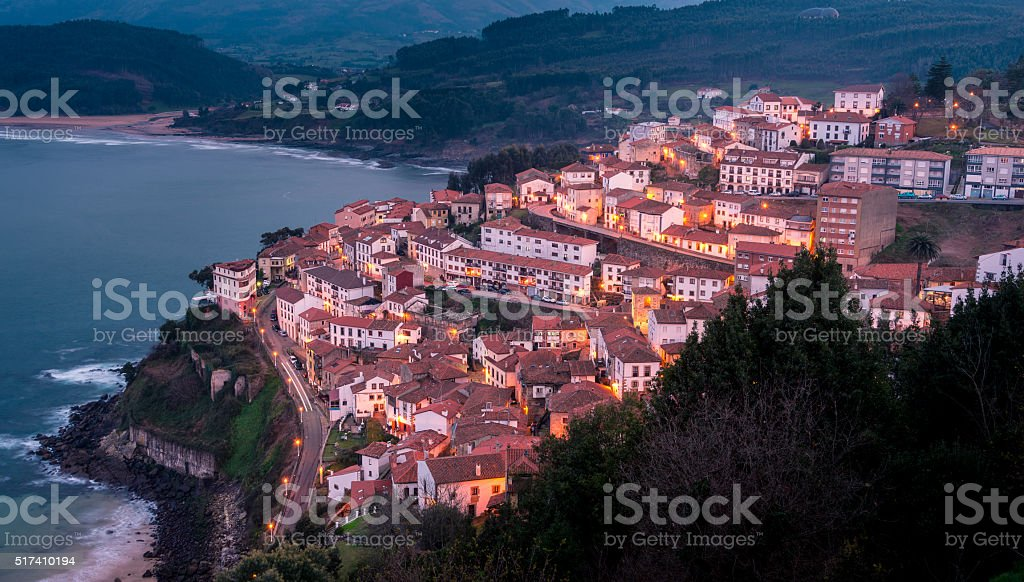 View of the city of Lastres at sunset, Asturias.Spain stock photo