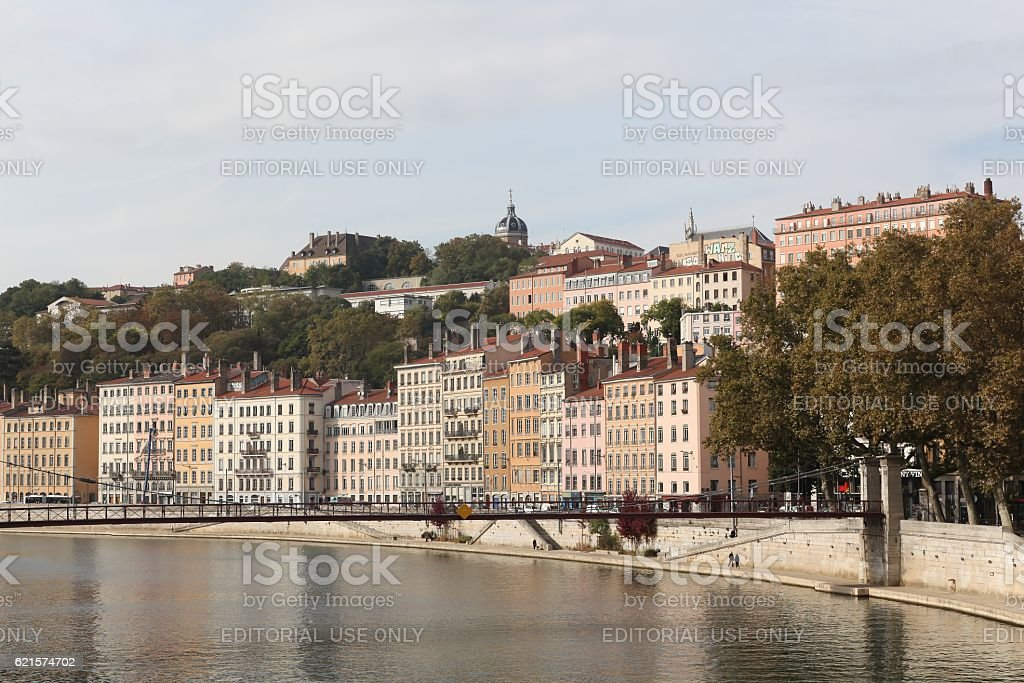 View of the city of Lyon with Saone river, France stock photo