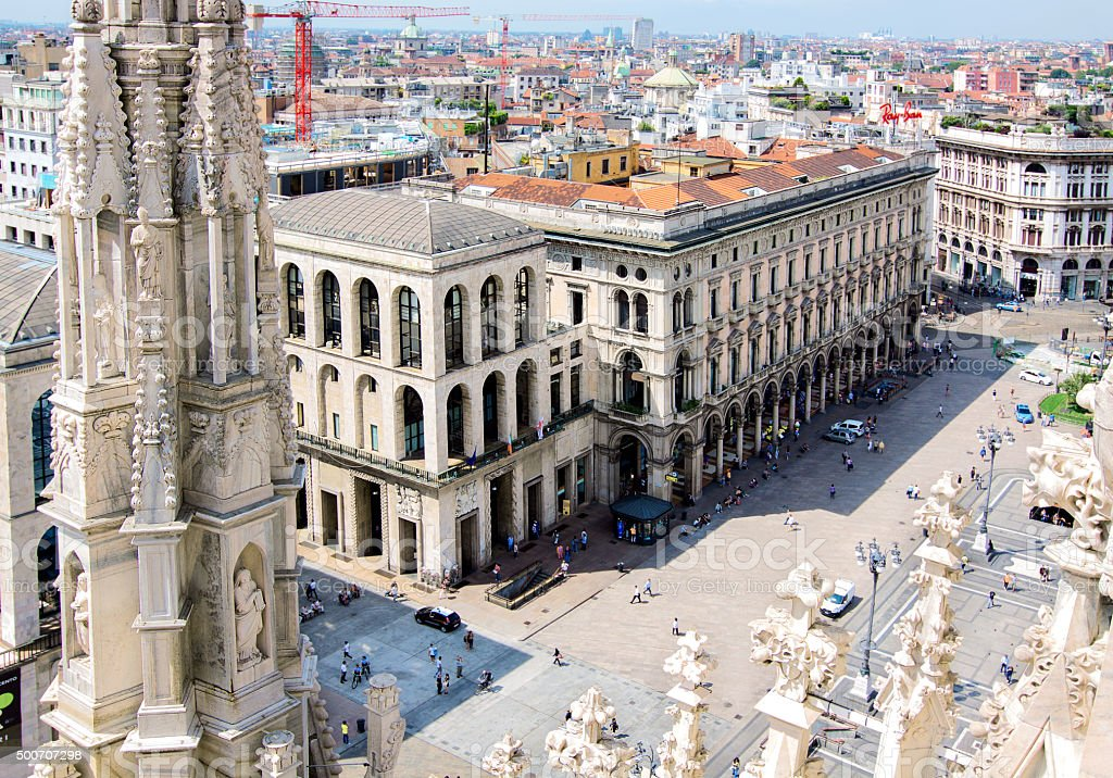 View of the city of Milan Milano in Italy stock photo