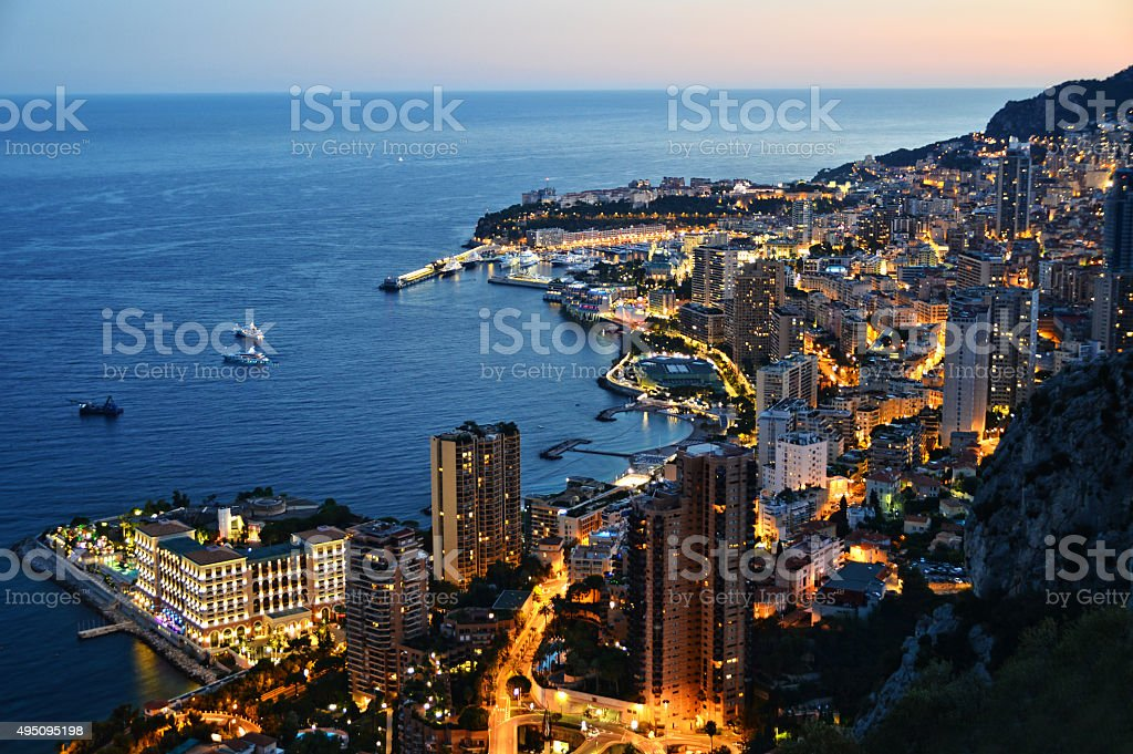 View of the city of Monaco by night. French Riviera stock photo