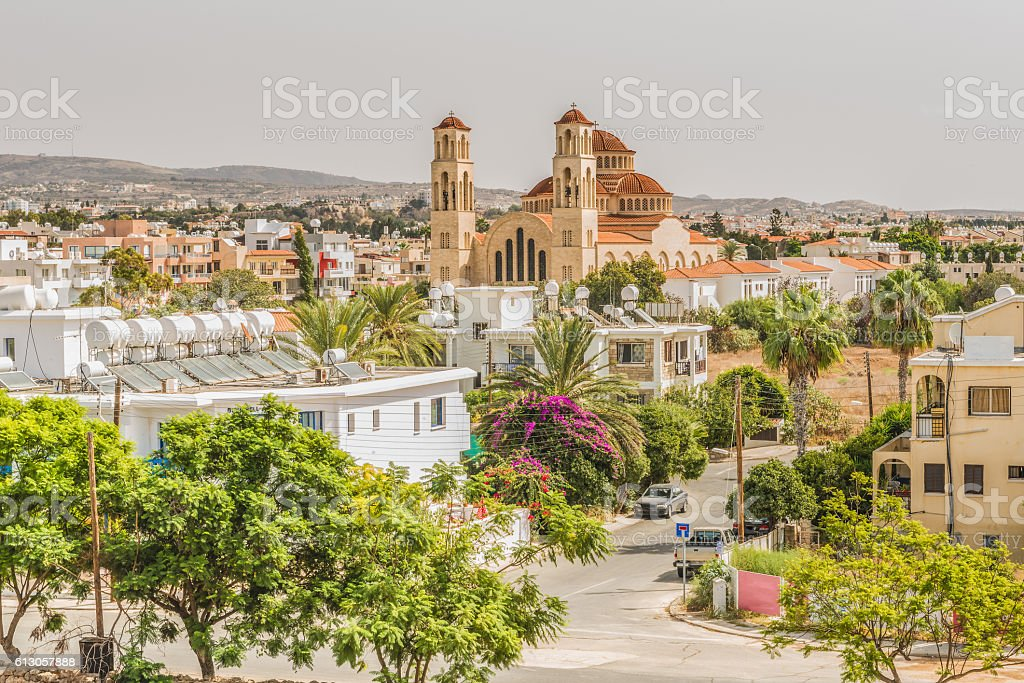View of the city of Paphos, Cyprus. stock photo