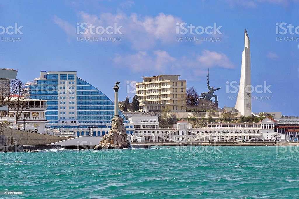 View of the city of Sevastopol from the sea stock photo