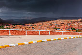 View of the city of Tinehir, Moody Sky,Morocco, Africa