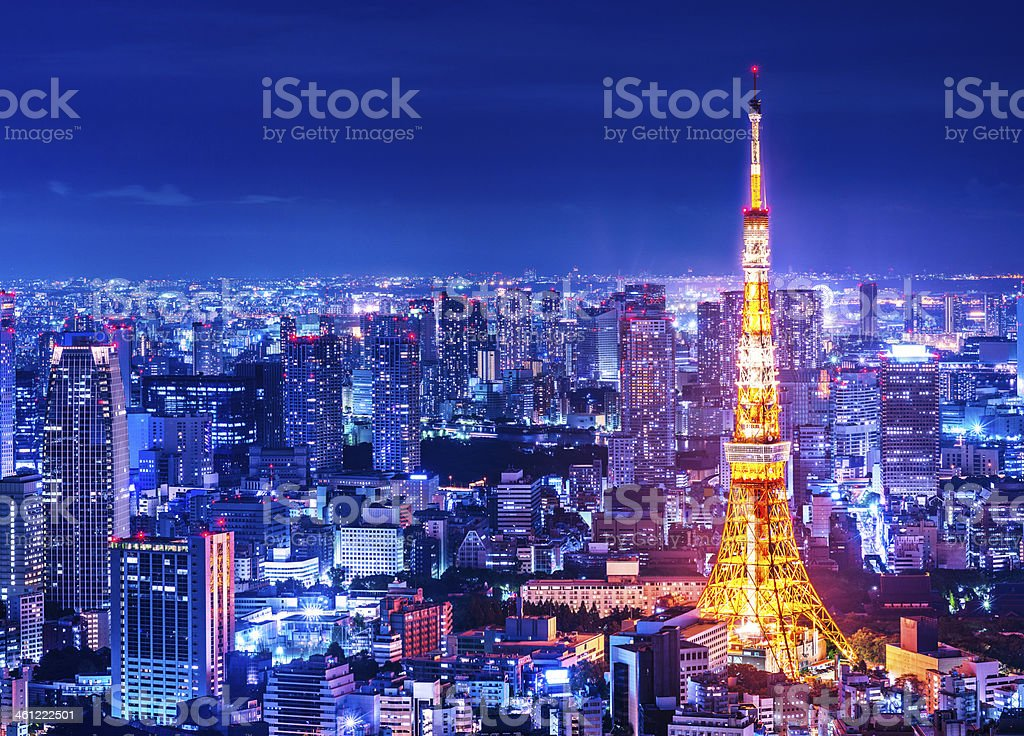 A view of the city of Tokyo at dusk stock photo