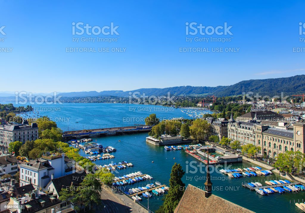 View of the city of Zurich from the tower of the Grossmunster cathedral stock photo