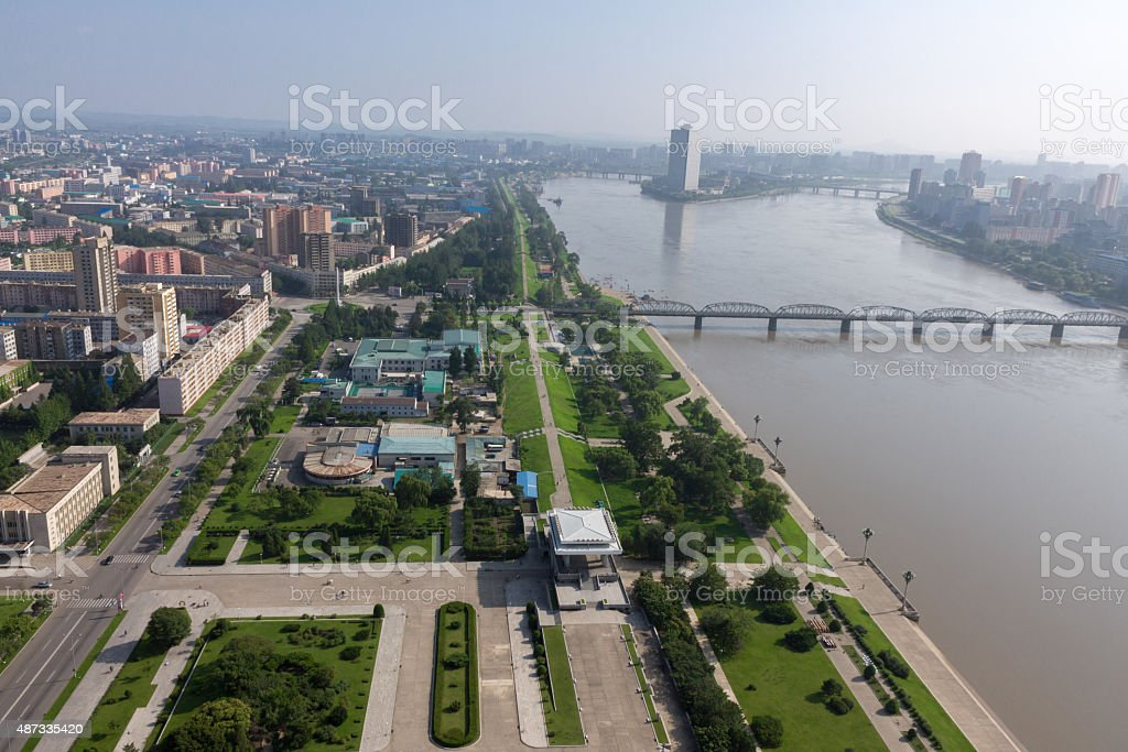 View of the city Pyongyang. stock photo