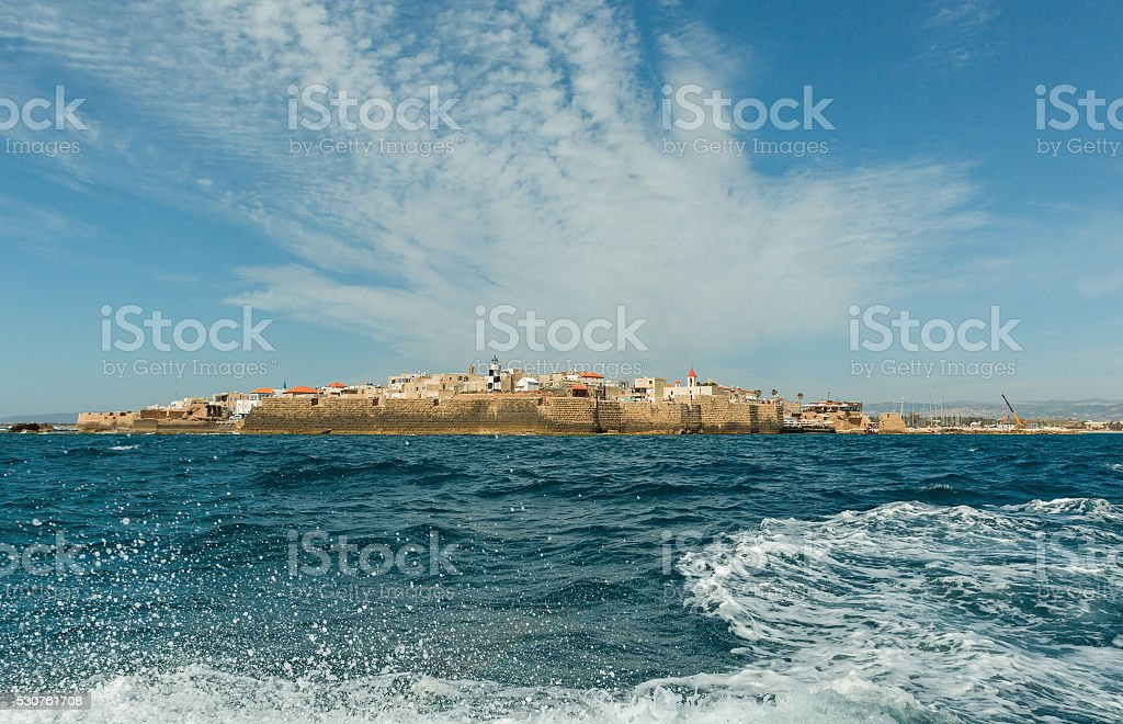 View of the city walls of Akko stock photo