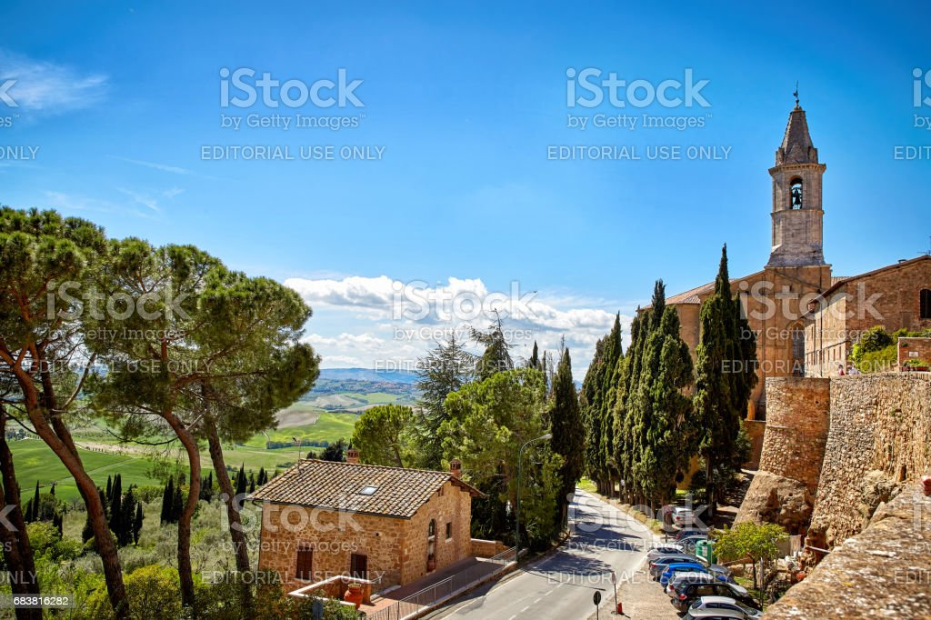 View of the city walls of Pienza stock photo