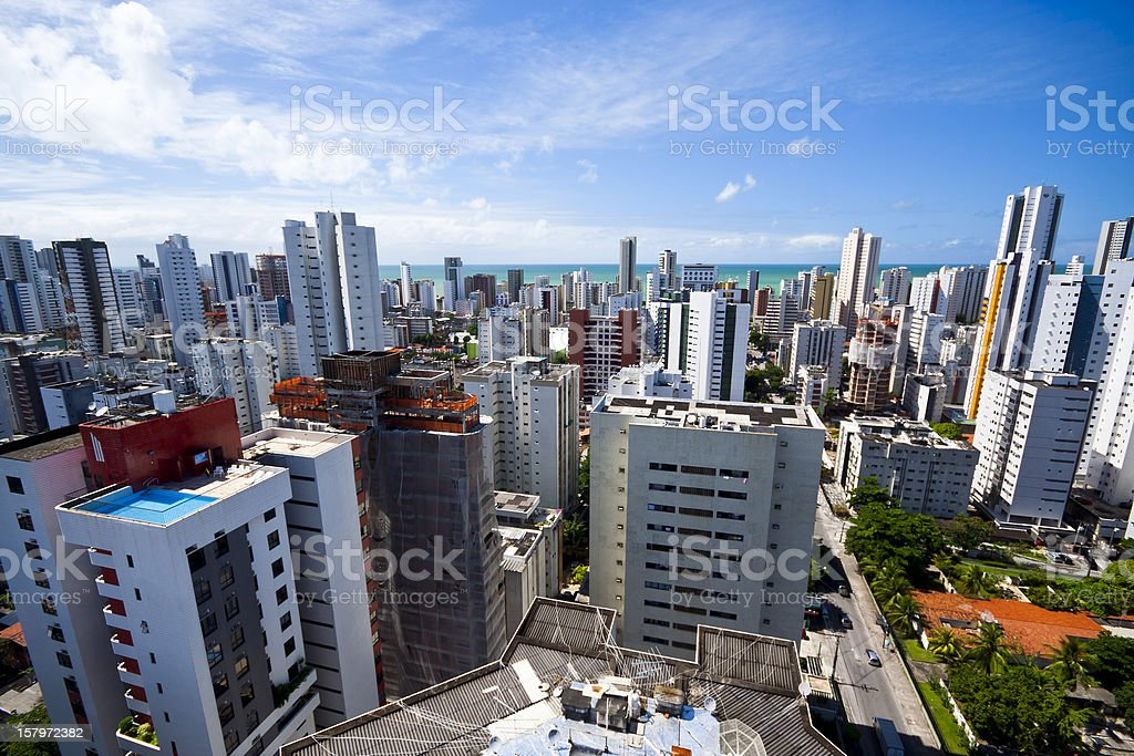A view of the city with skyscrapers stock photo