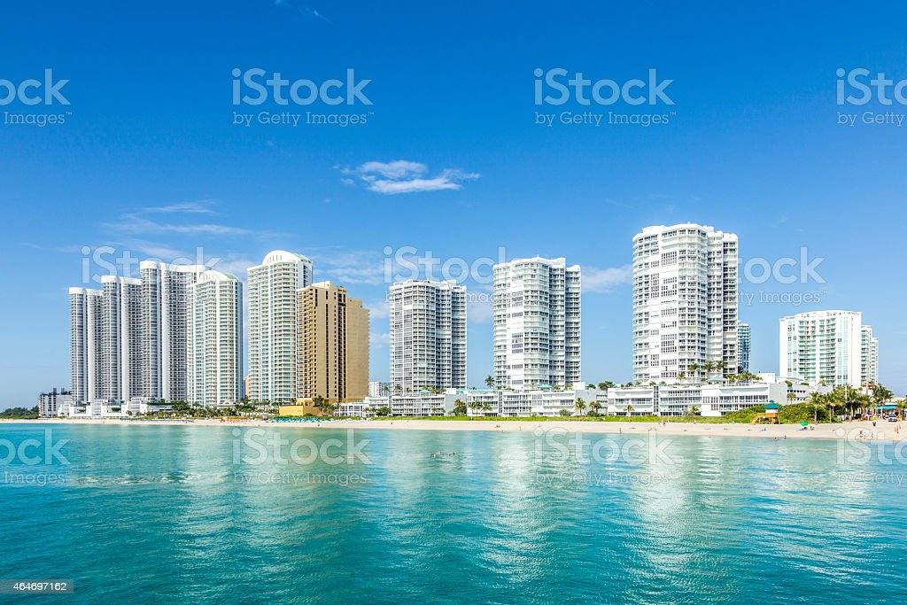 View of the cityscape across the beach of the Sunny Islands stock photo