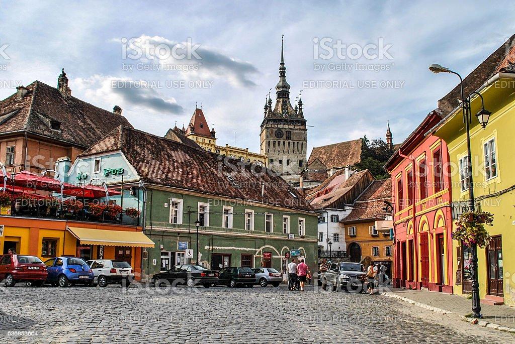 View of the Clock Tower in Sighisoara, Transylvania, Romania. stock photo